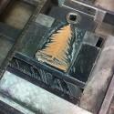 Druckstock und Bleisatz für den Schachtel-Aufdruck